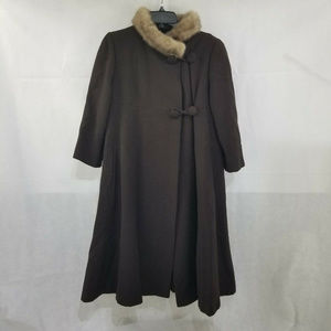 Vintage Womens Brown Dress Coat Fur Collar No Tags